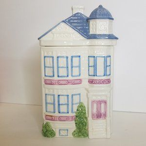 Vintage Victorian Town House Cookie Jar